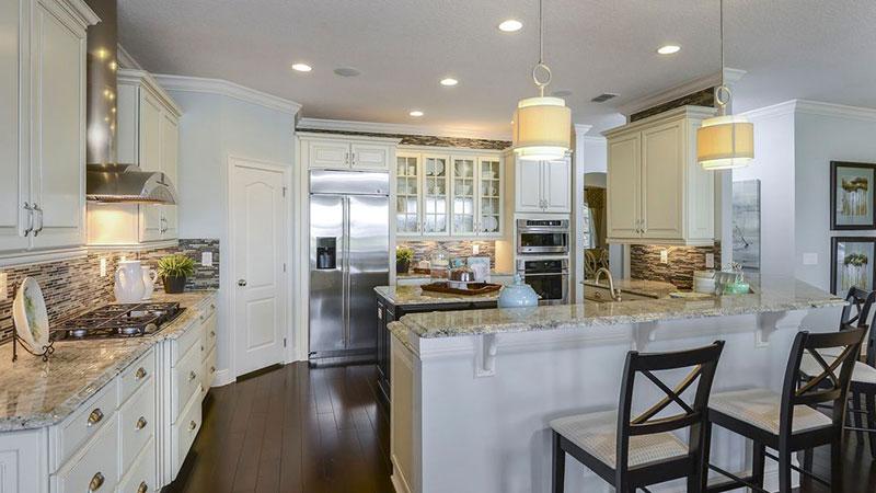Traditional kitchen with bianco romano granite and backsplash