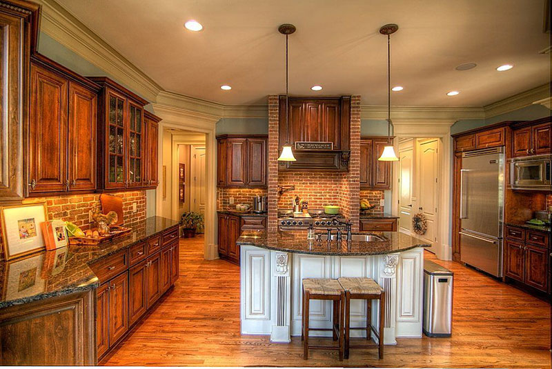 Kitchens with tan brown granite countertops