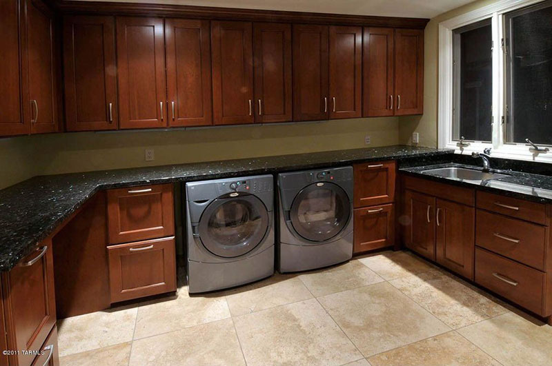 Perfect Laundry Room With Blue Pearl Granite