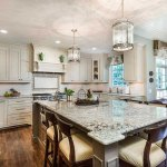 Bianco antico granite in transitional kitchen