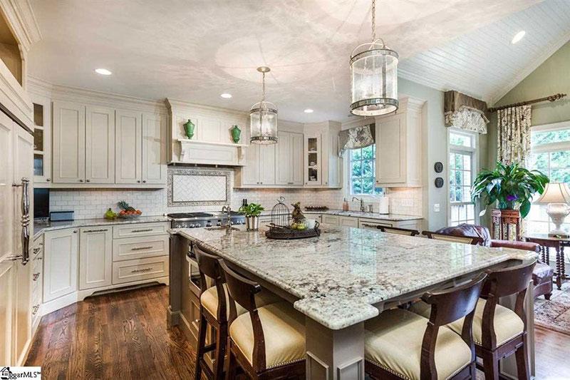 Bianco antico granite in transitional kitchen