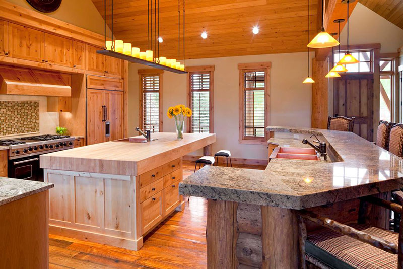 Rustic kitchen with river white granite