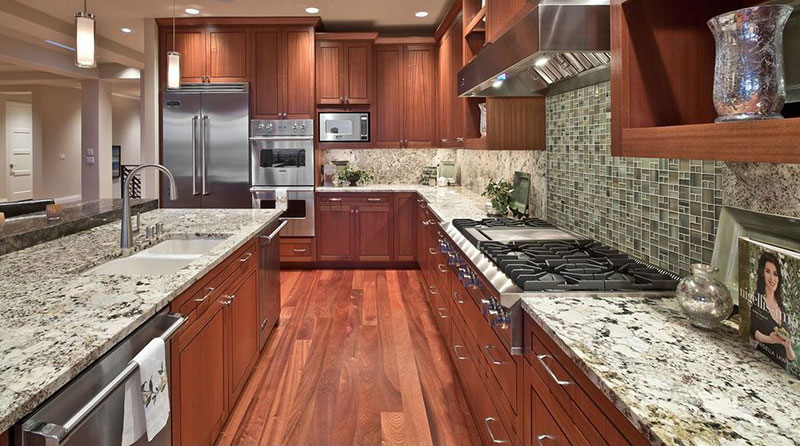 Craftsman Kitchen Design With Bianco Antico Granite Countertops And Wood  Cabinets. Home
