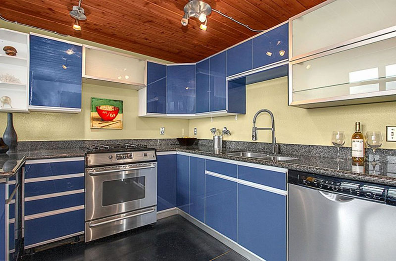 contemporary cabinets with blue pearl granite countertops