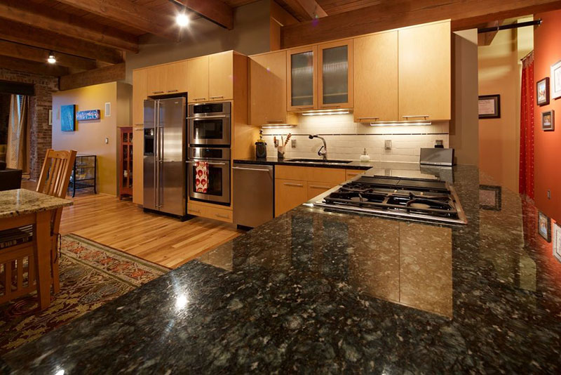 Attractive Contemporary Kitchen Cabinets With Uba Tuba Granite
