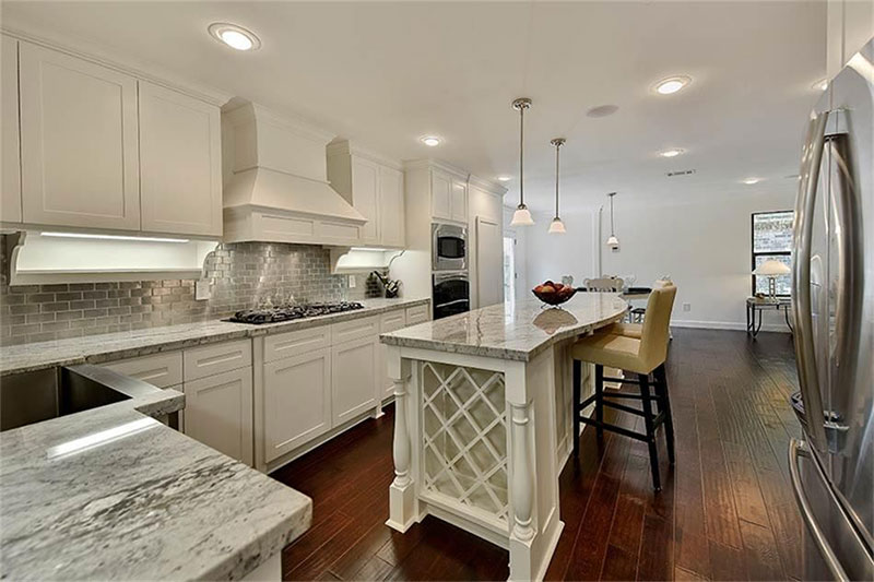 Alaska white granite on white cabinets