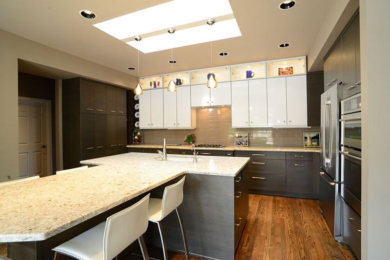 Modern kitchen design with alaska white granite countertops