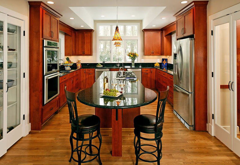 black pearl granite countertops with cherry cabinets