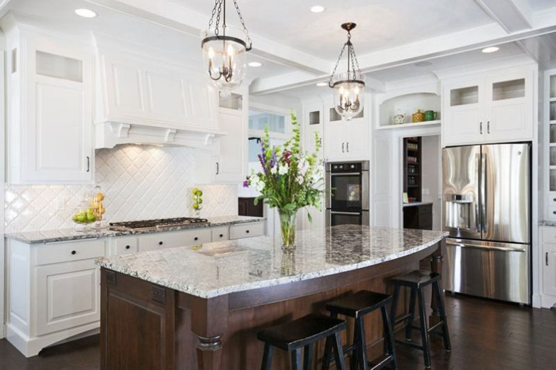 Alaskan white granite kitchen island