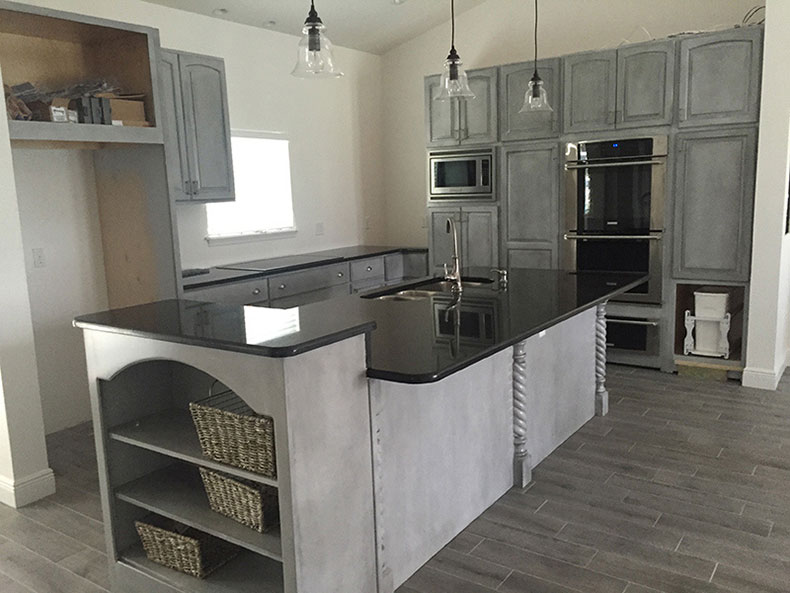 Black pearl granite kitchen island