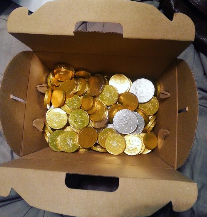 Chocolate coins in chest