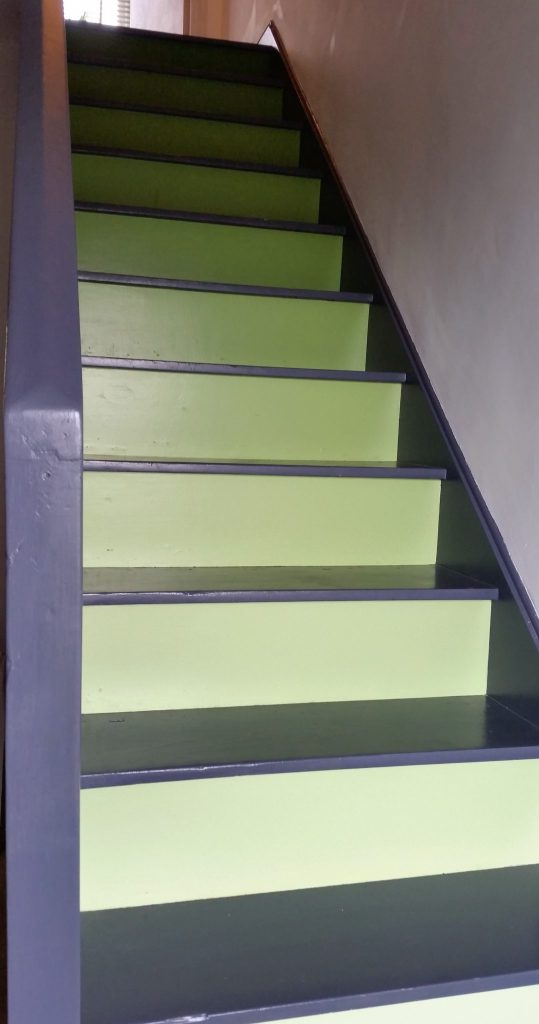 How to create your own ombré stairs. Click on the picture to see our diy painted stairs and learn how to mix paint to create a graduated effect.