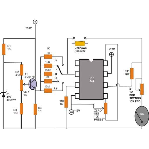 make a workbench multimeter with the ic 741 wiring and diagram