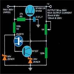Dc Regulated Power Supply Circuit Diagram Sony Car Variable To 300 Volts