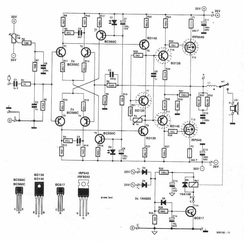 Hi-Fi 100 Watt Amplifier Using 2N3055 Transistors