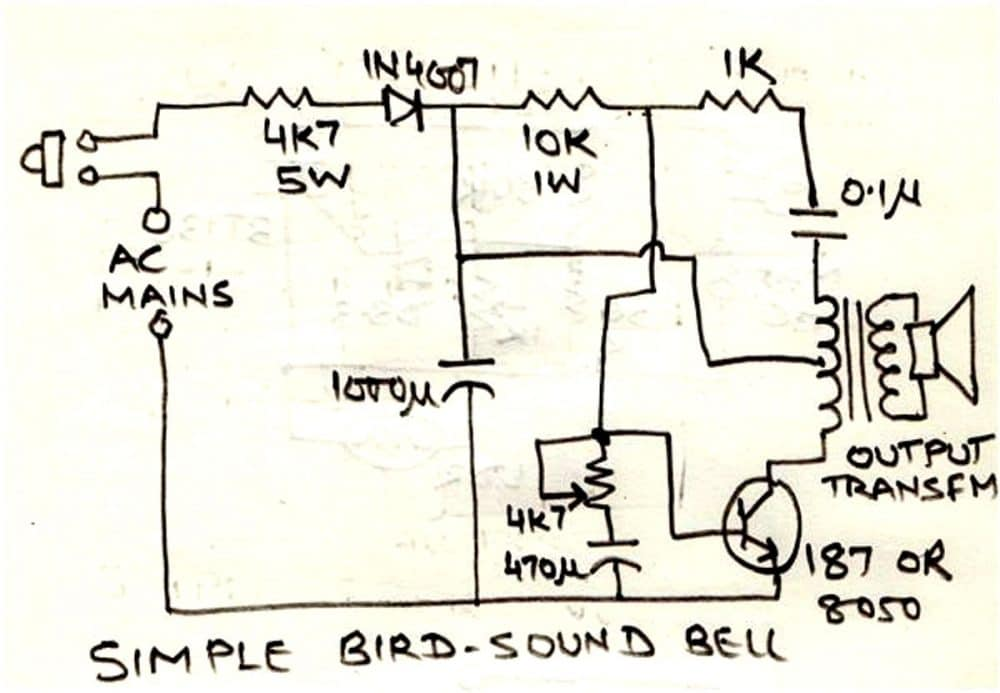 simple doorbell circuit diagram lighting contactor wiring with timer bird sound generator homemade projects