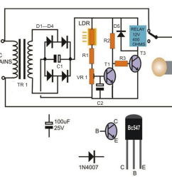 automatic day and night lamp switch circuit using transistors and relay [ 900 x 900 Pixel ]