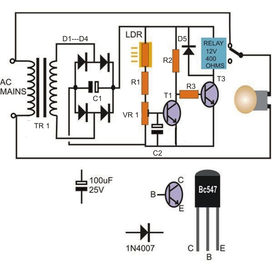 medium resolution of automatic day and night lamp switch circuit using transistors and relay