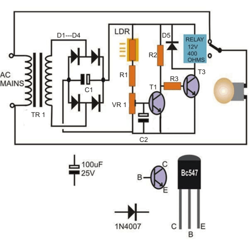 small resolution of automatic day and night lamp switch circuit using transistors and relay