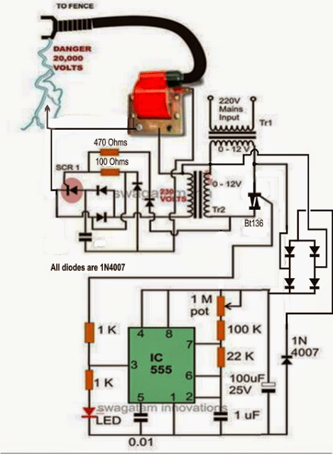Electric Fence Circuit Diagram : electric, fence, circuit, diagram, Homemade, Fence, Charger,, Energizer, Circuit, Projects