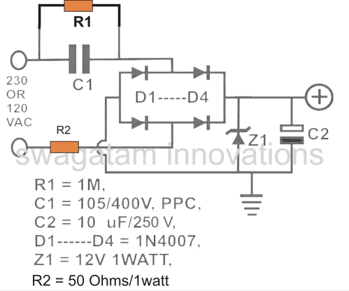 small resolution of simple transformerless power supply circuit