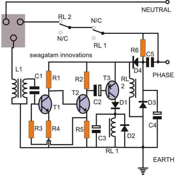 given in the circuit diagram itself a simple elcb circuit