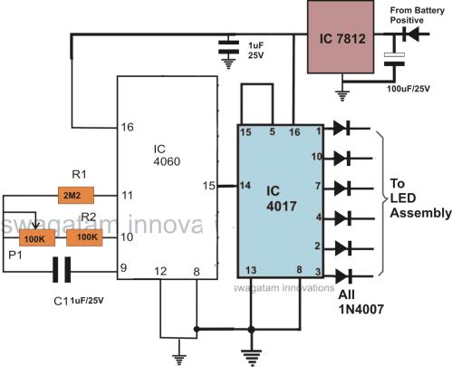 small resolution of ic 4060 ic 4017 led bar graph brake light