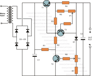 Variable Voltage, Current Power Supply Circuit Using Transistor 2N3055   Homemade Circuit Projects
