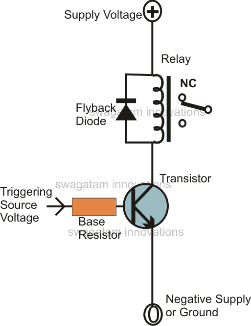 transistor relay driver circuit with formula and