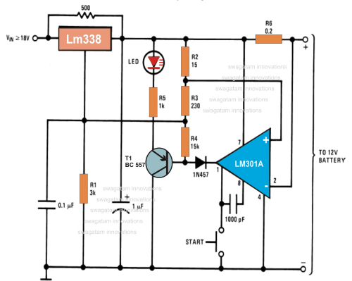 small resolution of 12v battery charger circuits using lm317 lm338 l200 transistors circuit diagram 3 phase battery charger
