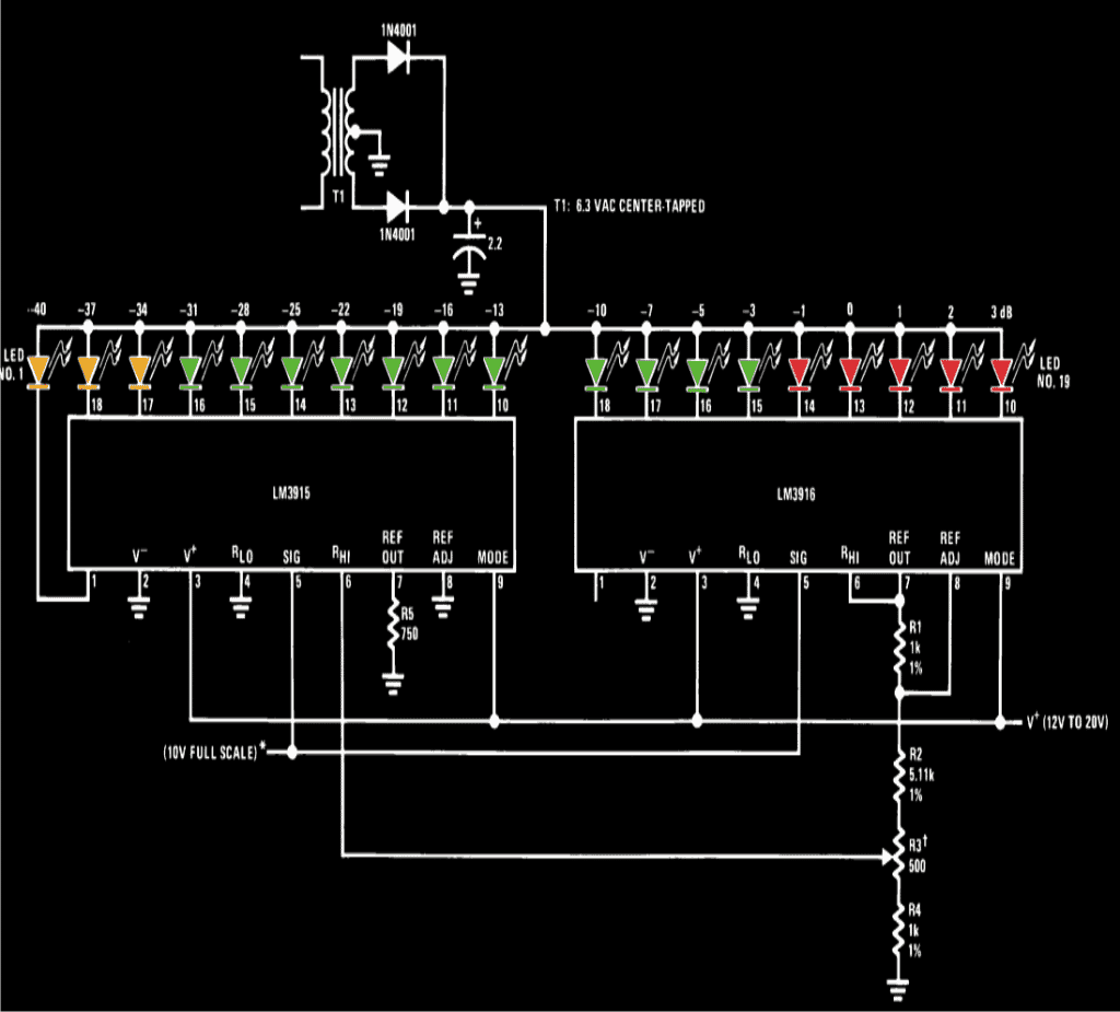 Simple LED VU Meter Circuit  Homemade Circuit Projects