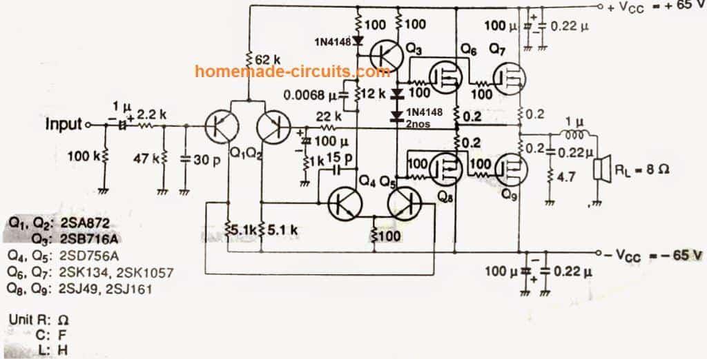 DIY 100 Watt MOSFET Amplifier Circuit