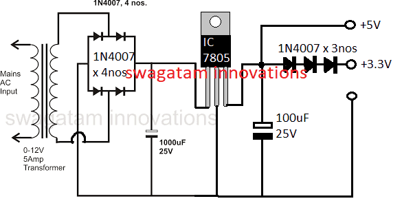 circuit diagram of 5v power supply