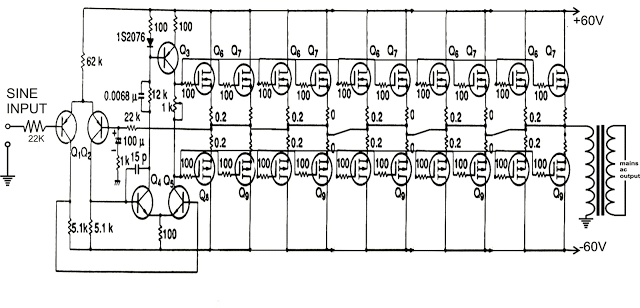 1000 watts amplifier circuit diagram