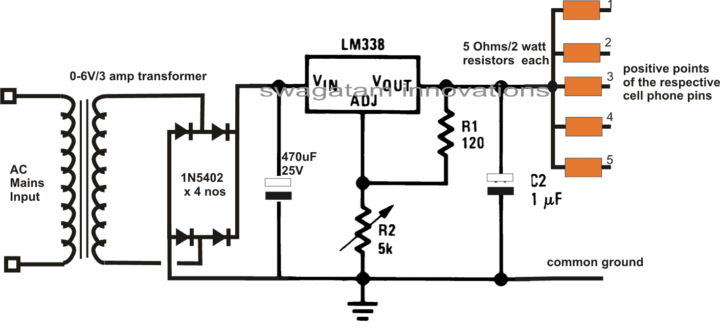 hight resolution of multiple cellphone charger circuit using ic 7805
