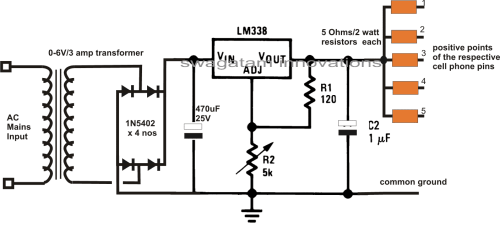 small resolution of multiple cellphone charger circuit using ic 7805
