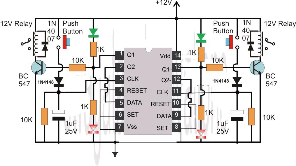 Flip Flop Using IC 4013