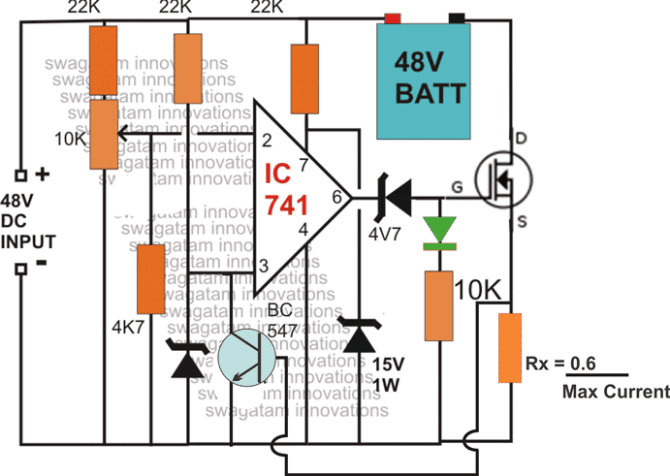 3 easy 48v battery charger circuits explained