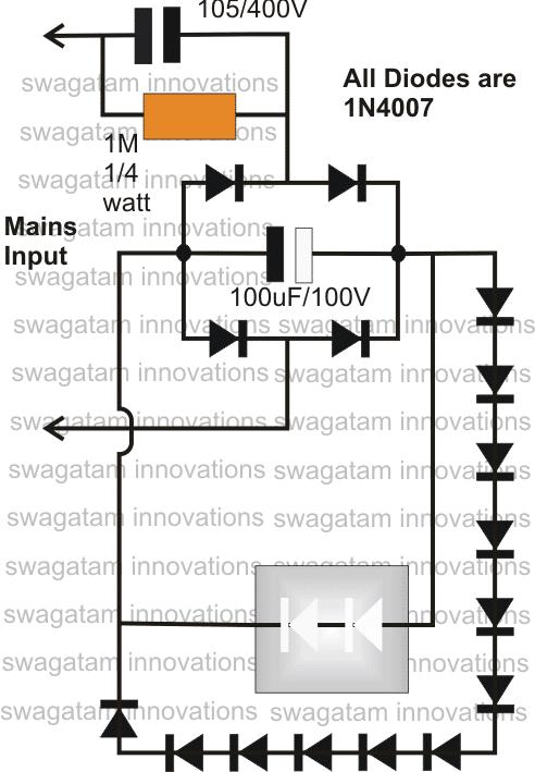 3 watt led driver circuit diagram trail tech trailer wiring surge protected cheap transformerless hi-watt - homemade projects