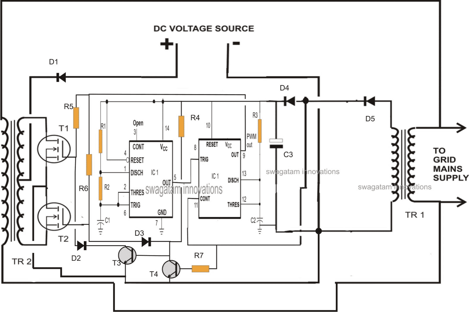 Transistor Inverter Circuit Schematic