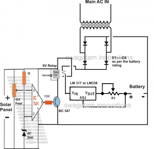 small resolution of solar panel ac mains relay changeover circuit