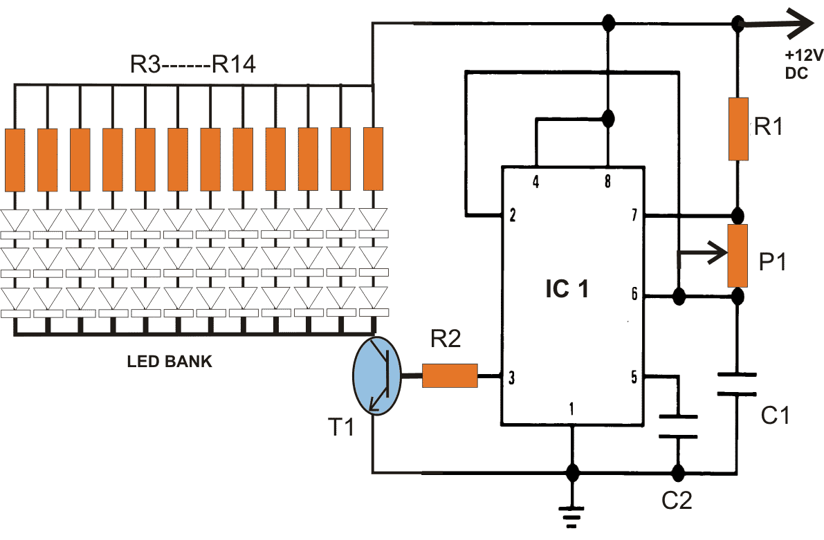 hight resolution of the circuit shown above is the pwm controlled 40 watt led lamp circuit the circuit has been elaborately explained in this 40 watt street light circuit
