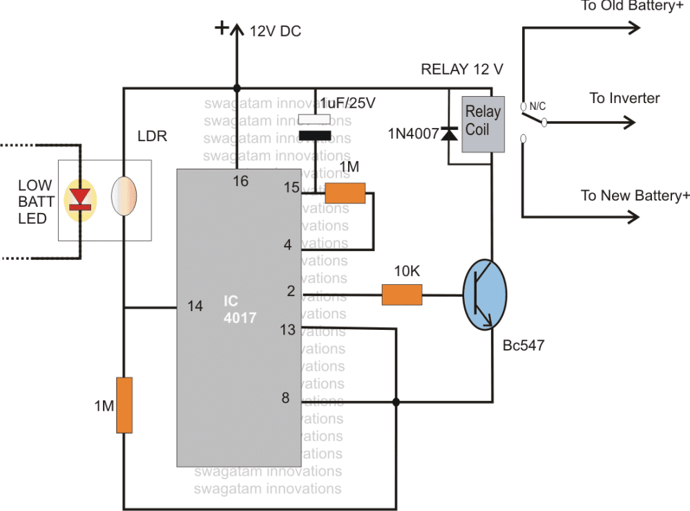 medium resolution of how to switch two batteries manually using opto coupler homemade changeover relay wiring diagram changeover relay wiring