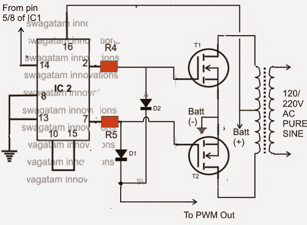 Step Up Transformer Wiring Diagrams Ic 556 Pure Sine Wave Inverter Homemade Circuit Projects