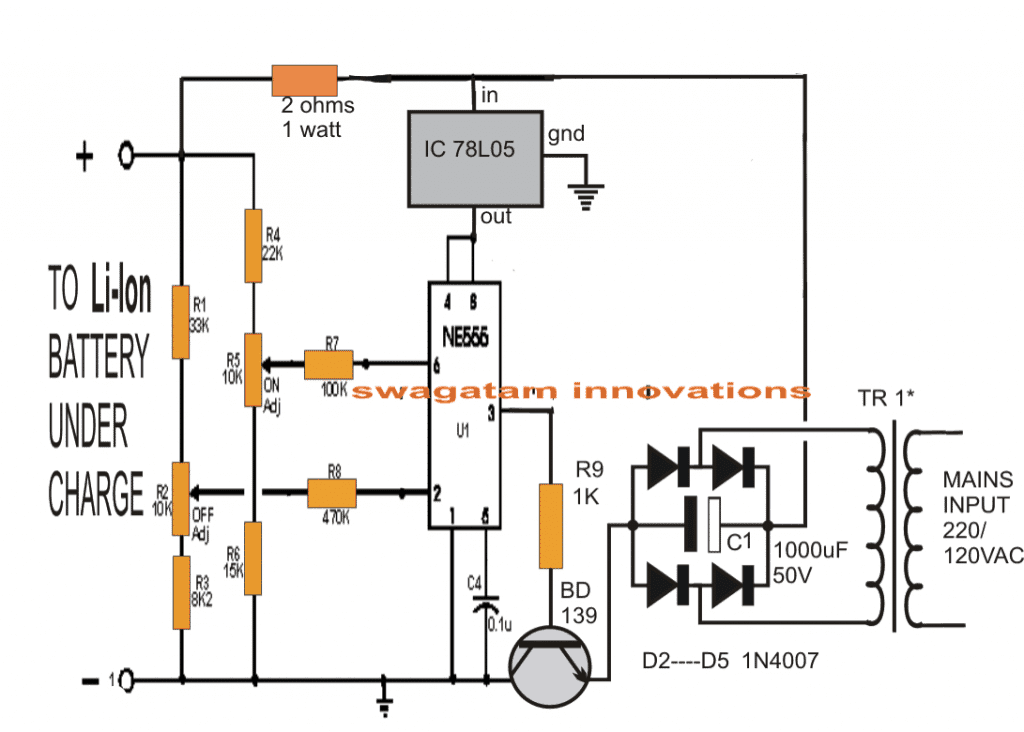 liion battery charger circuit using ic lp2951 electronic circuit
