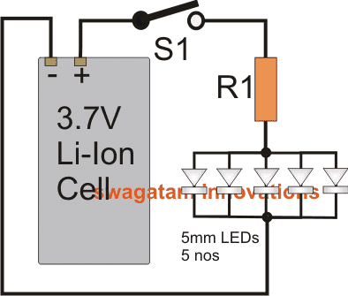 how to connect 5mm leds to a 37v liion cell  homemade