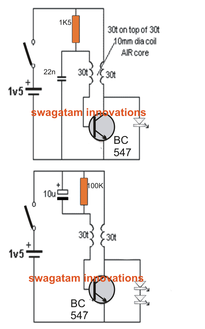 Bicycle LED Light Circuit Using a Single 1.5V Cell