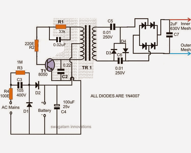Wiring Schematics For Ac Units 2 Mosquito Swatter Bat Circuits Explained Homemade