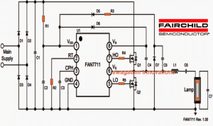 Mains 20 Watt Electronic Ballast Circuit