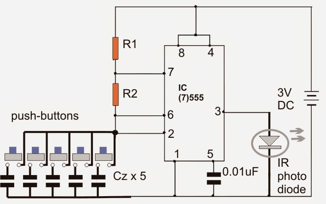 ir remote transmitter receiver circuit electronic circuit projects